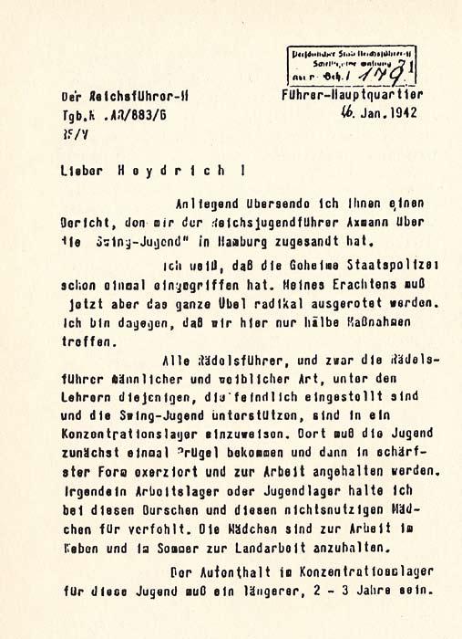 """Faksimile eines Erlasses von Himmler, in dem er ein """"brutales Durchgreifen"""" gegen die Swing-Jugend anordnet"""
